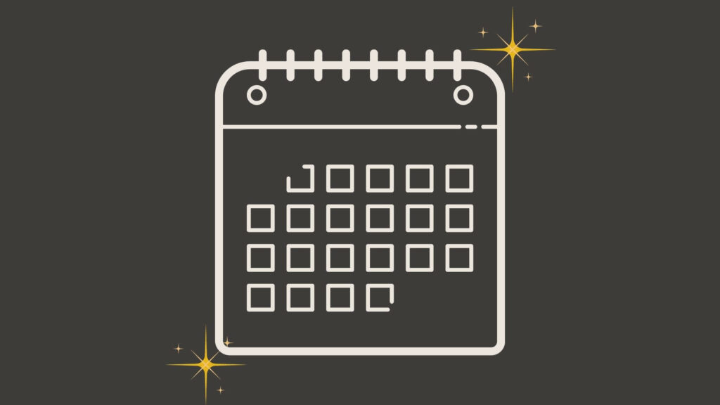 Kalendergrafik auf grauem Hintergrund
