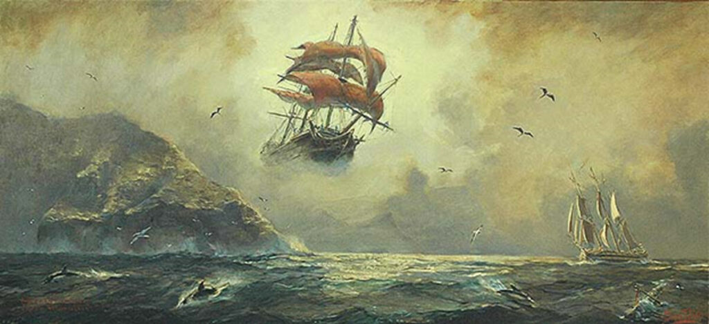 Gemälde eines fliegenden Schiffes mit roten Segeln, in einer düsteren, stürmischen Landschaft